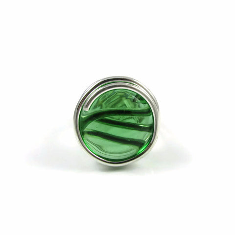 Infinity Glass Ring - Green Crystal
