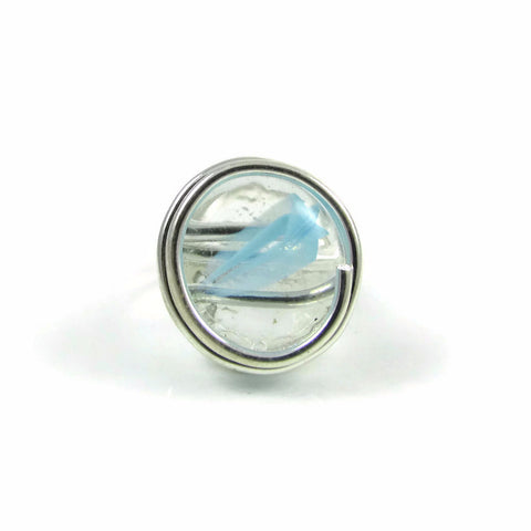 Infinity Glass Ring - Sky Blue Stripe