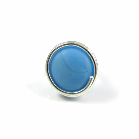 Infinity Glass Ring - Turquoise Matte