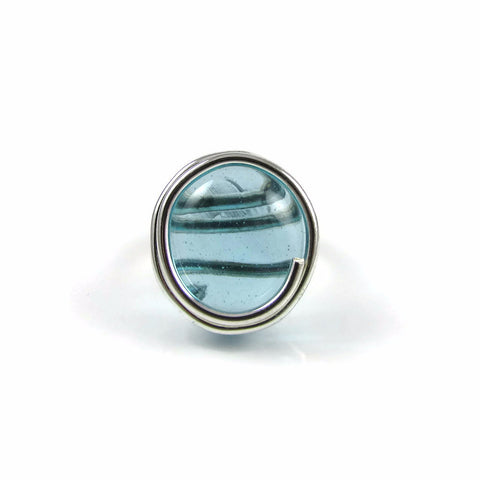 Infinity Glass Ring - Sky Blue Crystal