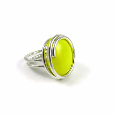 Infinity Glass Ring - Yellow