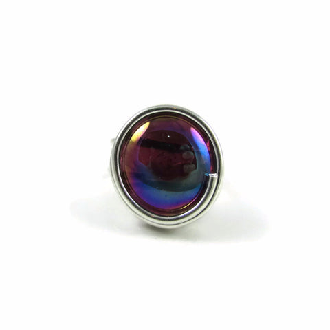 Infinity Glass Ring - Amethyst Iridescent