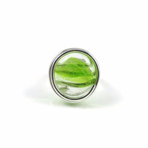 Infinity Glass Ring - Green Stripe