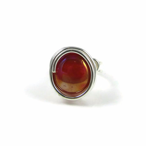 Infinity Glass Ring - Coral Iridescent