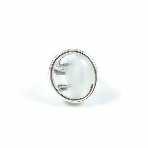 Infinity Glass Ring - White Stripe