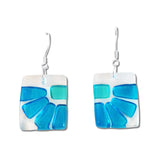 Lama Flower Glass Earrings in Aqua