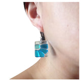 Lama Flower Glass Earrings in Aqua on model