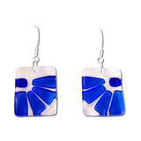 Lama Flower Glass Earrings in Navy