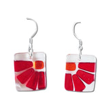 Lama Flower Glass Earrings in Red