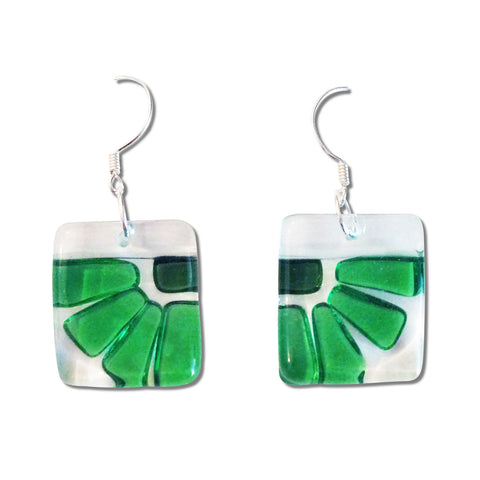 Lama Flower Glass Earrings in Green
