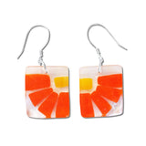 Lama Flower Glass Earrings in Orange