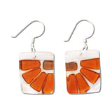 Lama Flower Glass Earrings in Amber