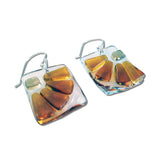 Lama Flower Glass Earrings in Amber, Back View