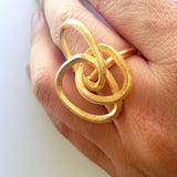 Bronze Rope Ring on finger