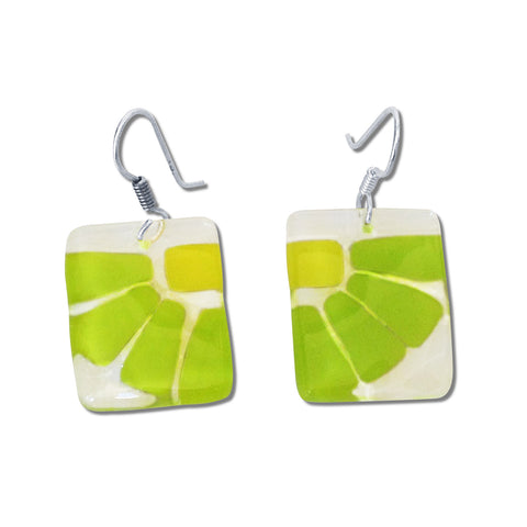 LAMA Glass Earrings - Lime Green