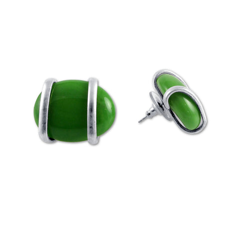 Parallel Earrings - Green Opaque