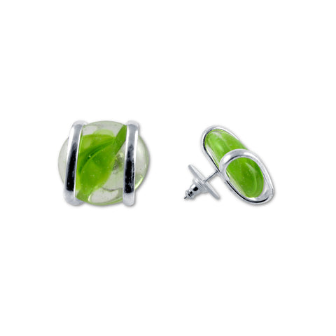 Parallel Earrings - Green Stripe