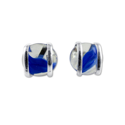 Parallel Earrings - Blue Stripe