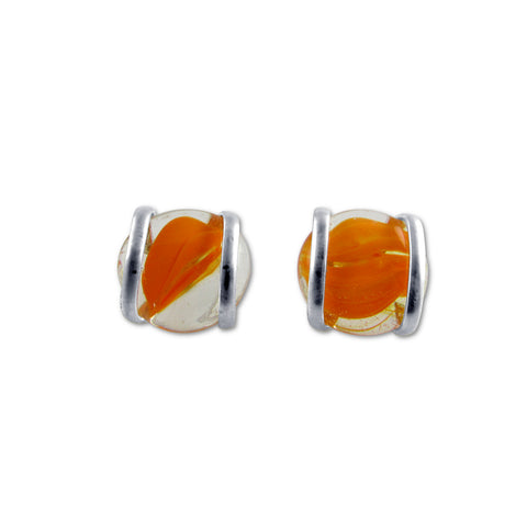Parallel Earrings - Orange Stripe