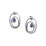 Ovals and Amethyst Earrings