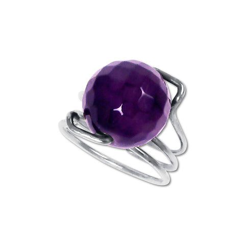 Faceted Amethyst Curly Ring