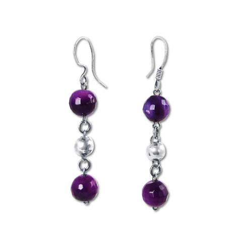 Bolitas Earrings - Faceted Amethyst