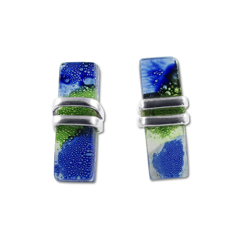 Blown Glass Rectangle Studs