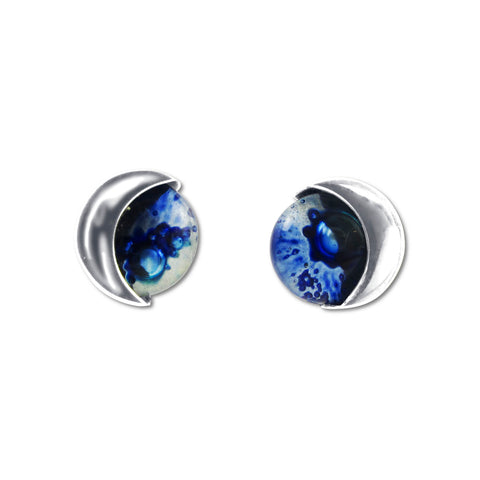 Blown Glass Moon Studs