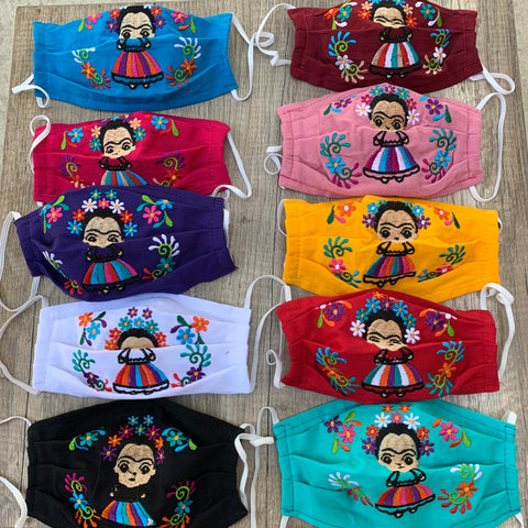 "Reusable Embroidered Kid's Sized FaceMasks - ""Maria"" Dolls"