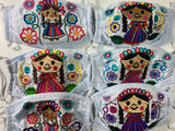"Reusable Embroidered FaceMasks - ""Maria"" Dolls"