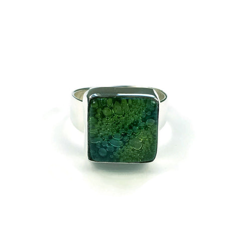 Square Blown Glass Ring - Green