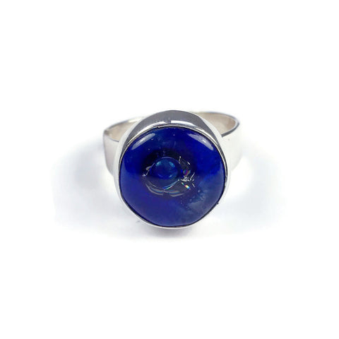 Round Blown Glass Ring - Navy