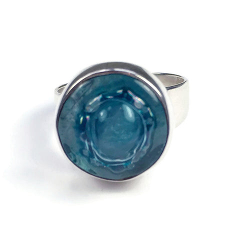 Round Blown Glass Ring - Aqua