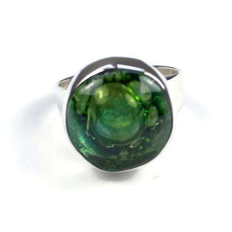 Round Blown Glass Ring - Green