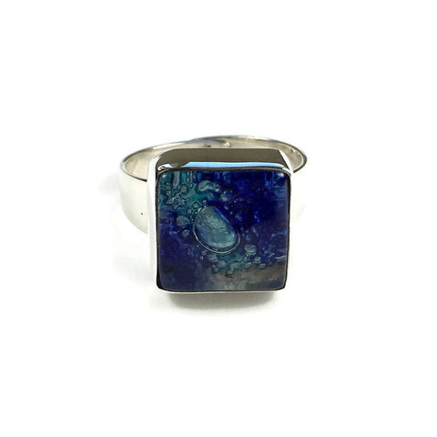 Square Blown Glass Ring - Blue