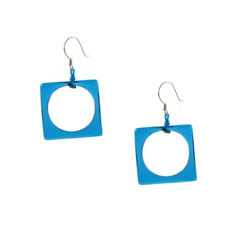 Hoyo Glass Earrings - Aqua