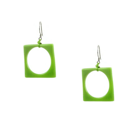 Hoyo Glass Earrings - Lime Green