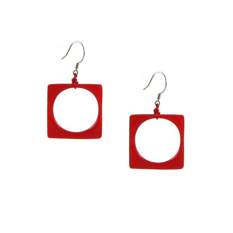 Hoyo Glass Earrings - Red