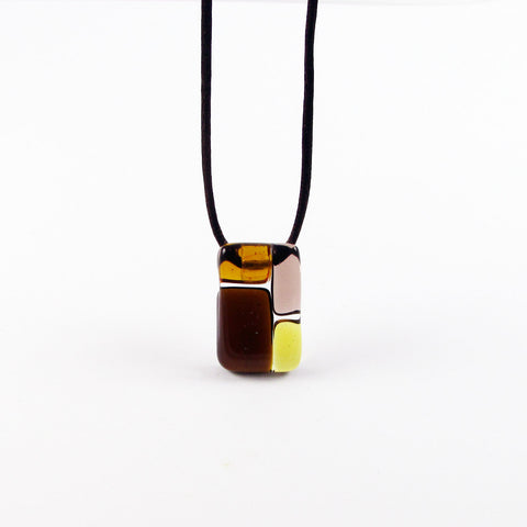 Cobblestones Mini Glass Pendant - Amber