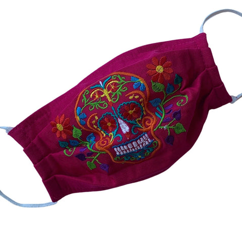 Sugar Skull Embroidered Face Mask.