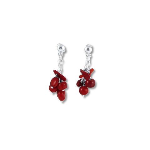 Racimo Earrings - Coral