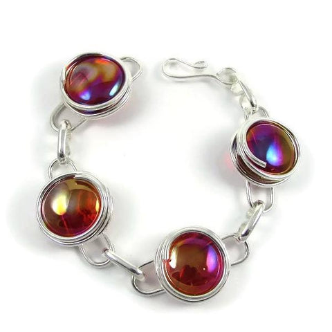 Infinity Bracelet -Crystal Red Iridescent