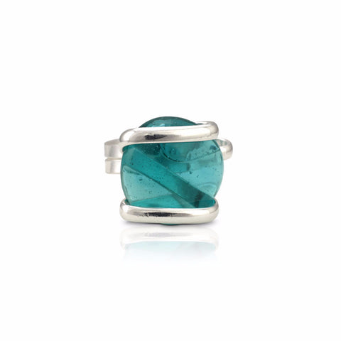 Parallel Glass Ring - Aqua Crystal