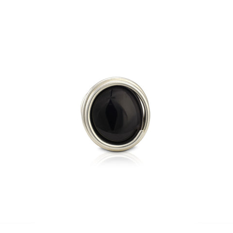 Infinity Glass Ring - Black