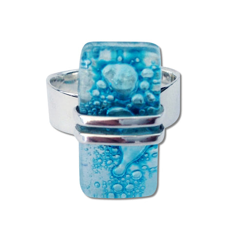 Wrap Blown Glass Ring - Aqua