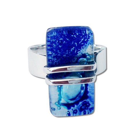 Wrap Blown Glass Ring - Navy