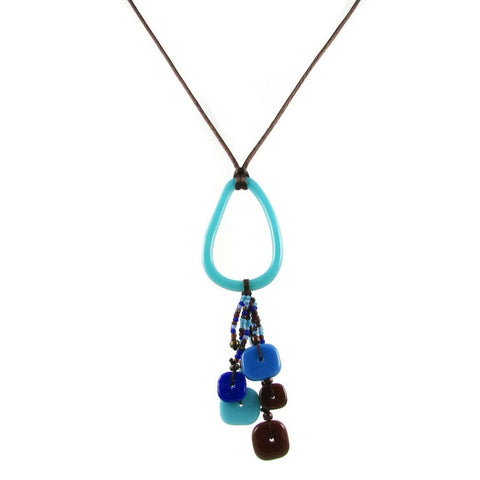 Chaquiras Glass Necklace - Aqua