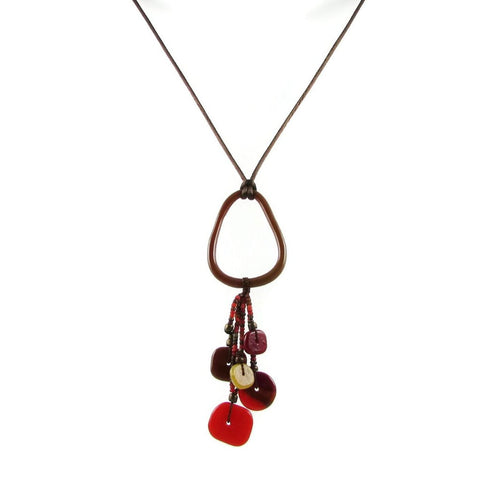 Chaquiras Glass Necklace - Red
