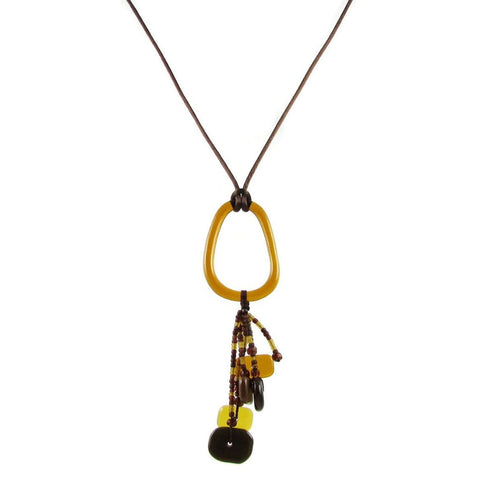 Chaquiras Glass Necklace - Amber