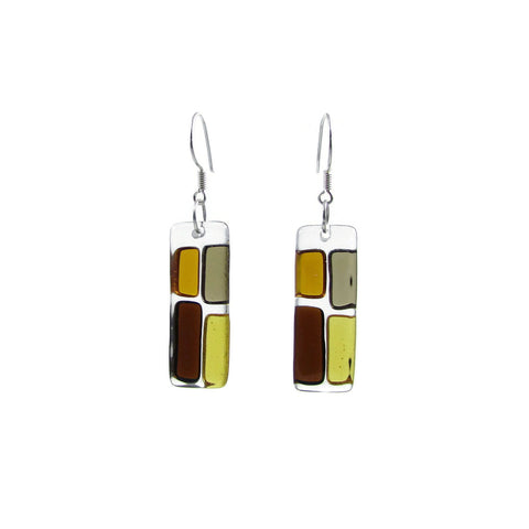 Cobblestones Glass Earrings - Amber